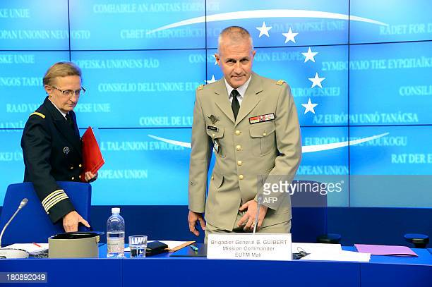 Mission Commander of the European Union Training Mission in Mali Brigadier General Bruno Guibert of France arrives for a press conference at the...