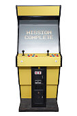 Vintage video game with Mission Complete screen isolated on white
