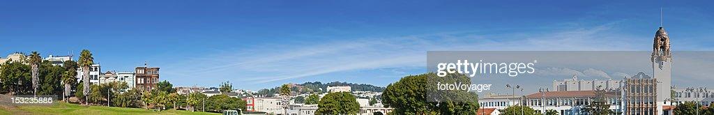 Mission District townhouses Dolores Park Castro panorama San Francisco California