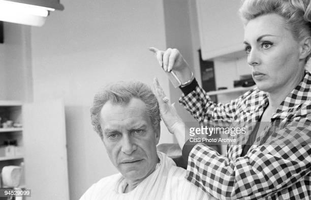 Impossible featuring from left Martin Landau as Rollin Hand in the makeup chair in advance of the episode �The Heir Apparent� May 20 1968