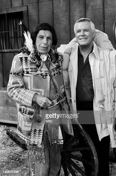TEAM 'Mission of Peace' Episode 20 Pictured Iron Eyes Cody as Chief Watashi George Peppard as John 'Hannibal' Smith Photo by NBCU Photo Bank