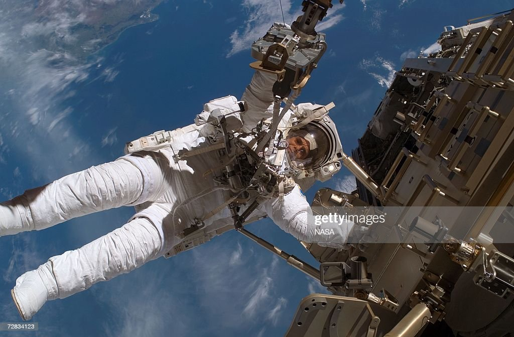 Mission specialist Christer Fuglesang makes the second of three planned space walks during construction on the International Space Station on Day 6...