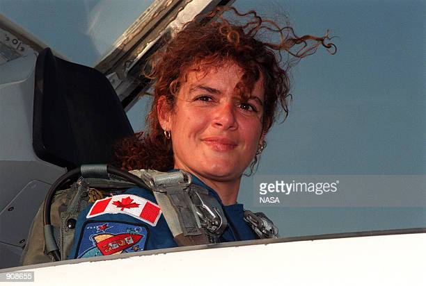 Mission Specialist Julie Payette of the Canadian Space Agency arrives April 26 1999 at the Shuttle Landing Facility in a T38 jet aircraft The STS96...