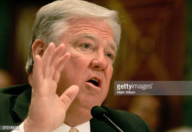 Mississippi Governor Haley Barbour gestures as he speaks during a Senate Appropriations Committee hearing on Capitol Hill March 7 2006 in Washington...
