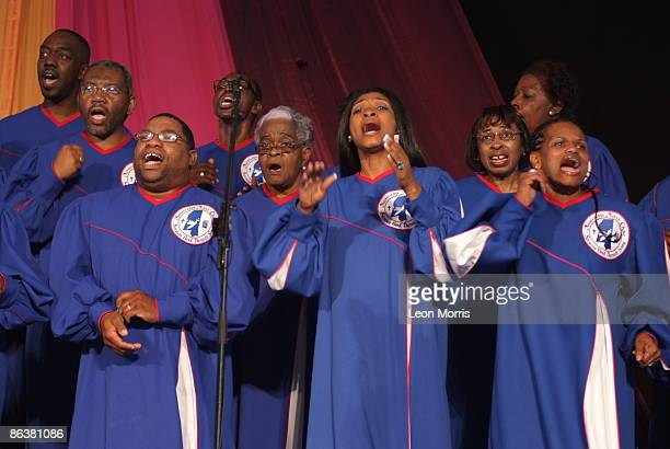 Mississippi Mass Choir performing on stage at the New Orleans Jazz Heritage Festival on April 30 2009 in New Orleans