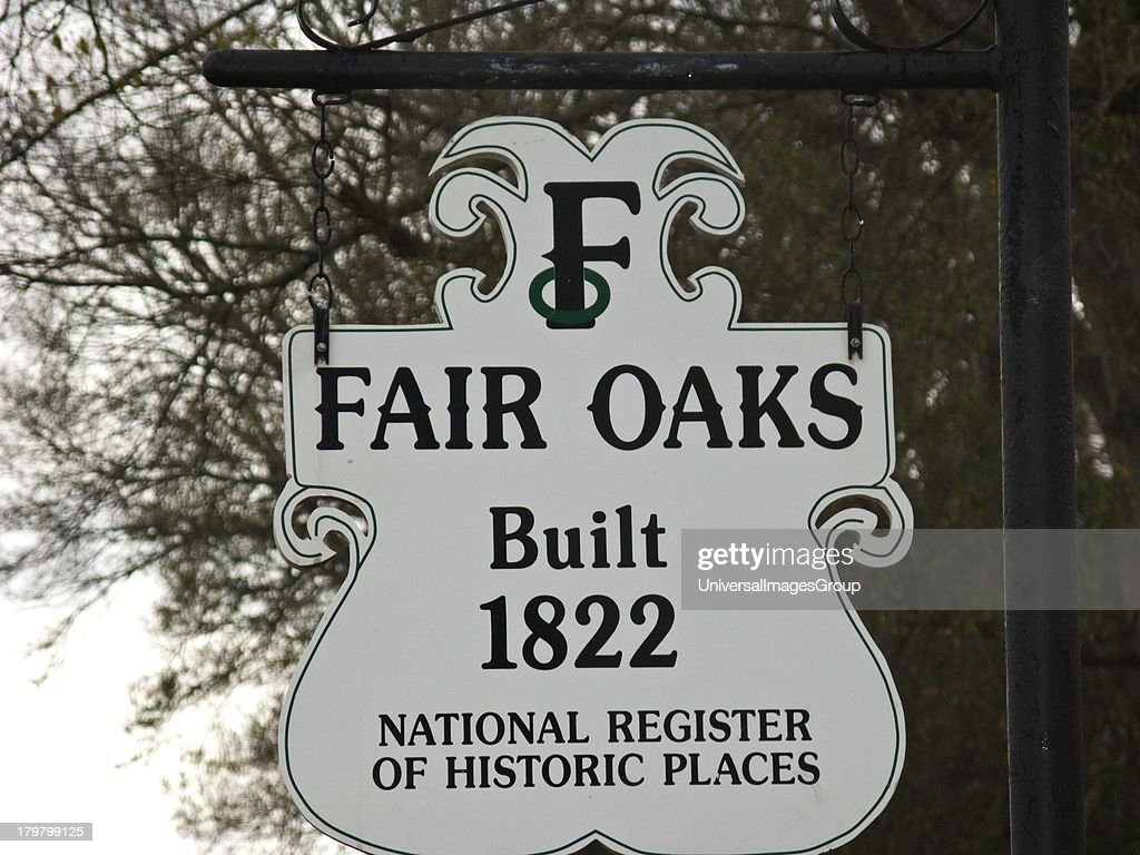 Mississippi Natchez Fair Oaks Federal style Southern Planters residence1822 in same family since 1856 Nameplate