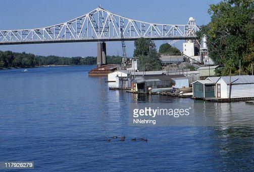 Mississippi River and bridge, La Crosse, Wisconsin 1979, retro