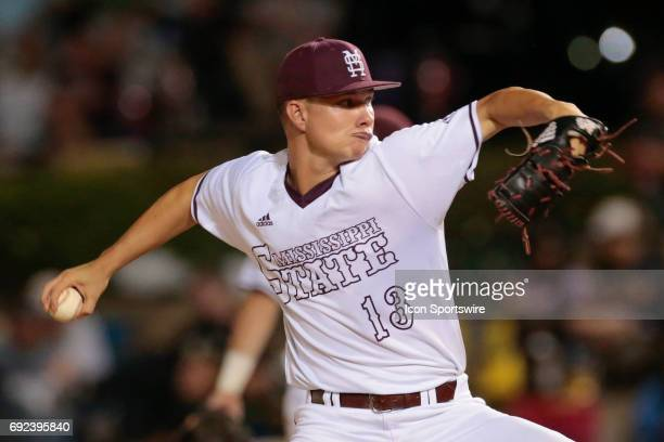 Mississippi St pitcher Peyton Plumlee during an NCAA Division I Regional baseball game between the Mississippi State Bulldogs and the South Alabama...