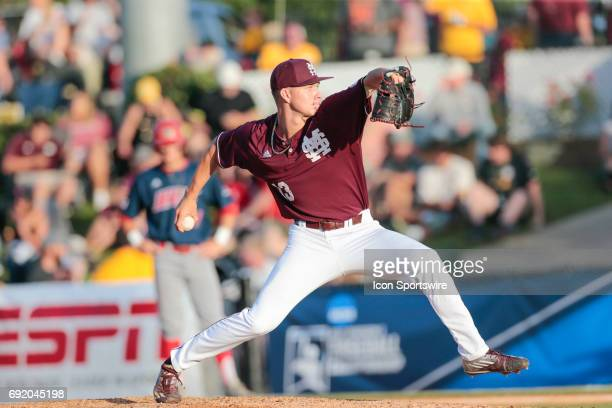Mississippi St pitcher Peyton Plumlee pitches during an NCAA Division I Regional baseball game between the South Alabama Jaguars and the Mississippi...