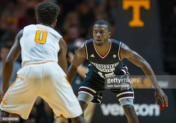 Mississippi State Bulldogs guard IJ Ready guards Tennessee Volunteers guard Jordan Bone during a game between the Mississippi State Bulldogs and...
