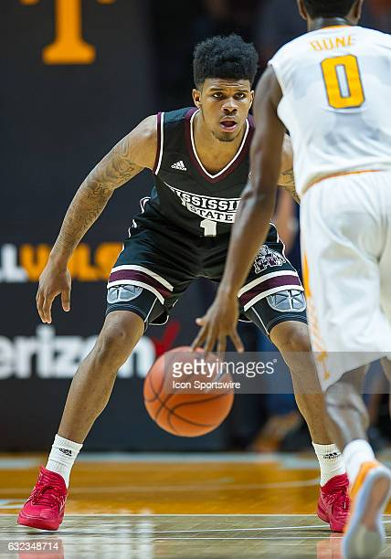 Mississippi State Bulldogs guard Lamar Peters guards Tennessee Volunteers guard Jordan Bone during a game between the Mississippi State Bulldogs and...