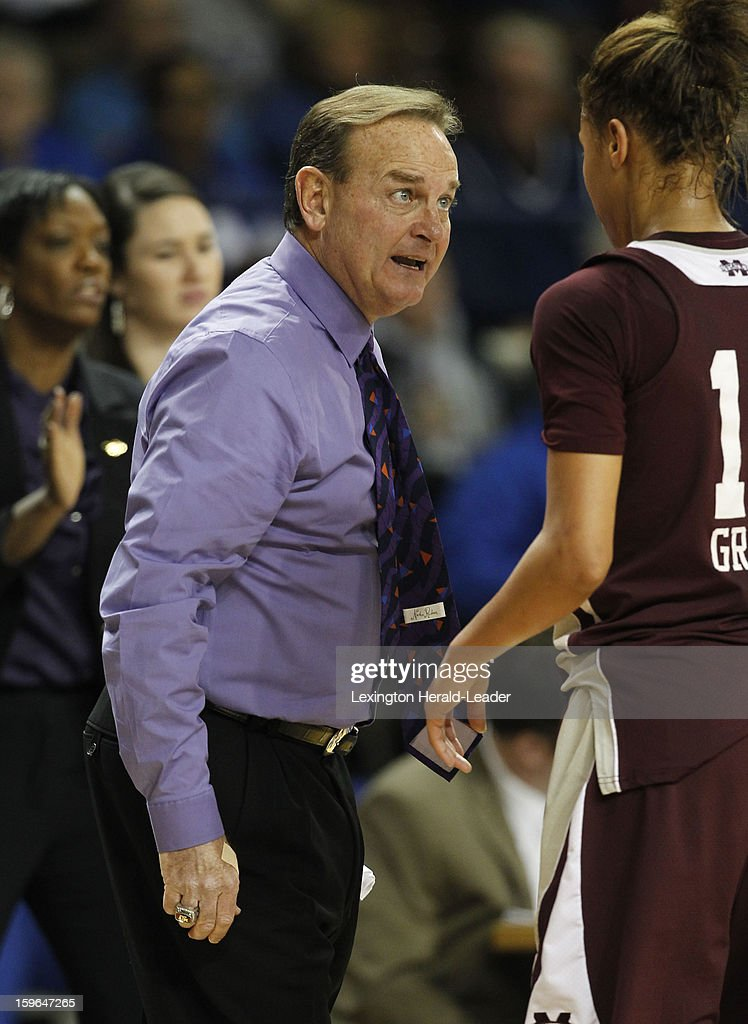 Mississippi State Bulldogs head coach Vic Schaefer talks with his team during a women's college basketball game against the Kentucky Wildcats at Rupp Arena on Thursday, January 17, 2013 in Lexington, Kentucky. Kentucky defeated Mississippi State, 100-47.