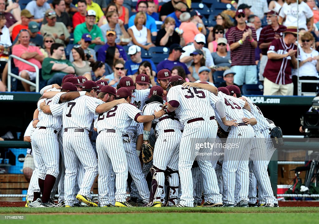 Mississippi State Bulldogs players huddle just before playing the UCLA Bruins during game one of the College World Series Finals on June 24, 2013 at TD Ameritrade Park in Omaha, Nebraska. UCLA won 3-1.