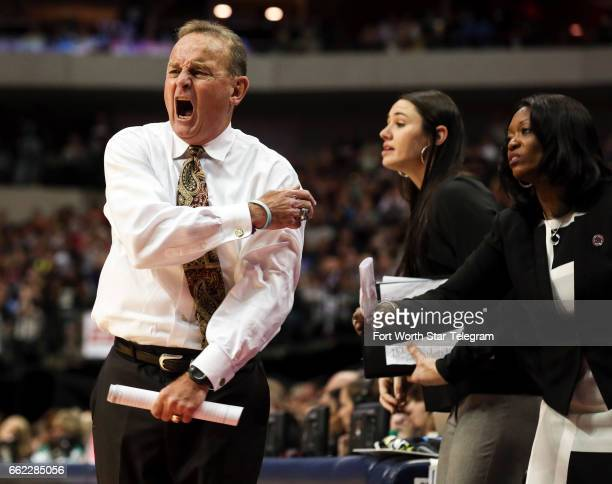 Mississippi State head coach Vic Schaefer reacts after a foul call during action against Connecticut in an NCAA Tournament semifinal at American...