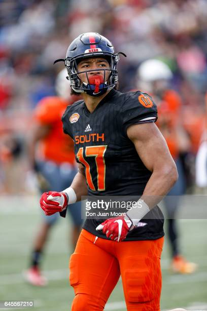 Mississippi Tight End Evan Engram of the South Team during the 2017 Resse's Senior Bowl at LaddPeebles Stadium on January 28 2017 in Mobile Alabama...
