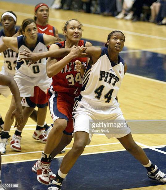 Mississippi's Armintie Price battles Pittsburgh's Danielle Taylor for position during second round action of the WNIT at the Fitzgerald Field House...
