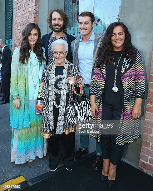 Missoni Creative Director Angela Missoni poses with her son Francesco Maccapani Missoni her mother Rosita Missoni Creative Director of Missoni Home...