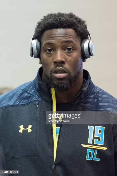 Missouri defensive end Charles Harris answers questions from members of the media during the NFL Scouting Combine on March 4 2017 at Lucas Oil...