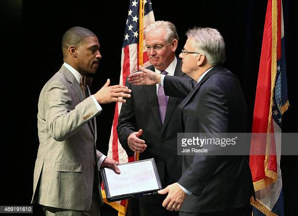 Missouri Governor Jay Nixon annouces minister Starsky Wilson and businessman Richard McClure as the cochairs of a 16member Ferguson Commission on...