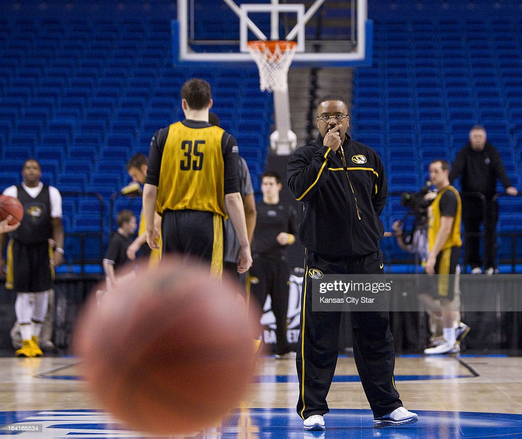 Missouri head coach Frank Haith blows his whistle as the team runs drills during a shoot-around as the team prepares for the second round of the NCAA Tournament in Rupp Arena in Lexington, Kentucky, on Wednesday, March 20, 2013. Missouri meets Colorado State on Thursday.