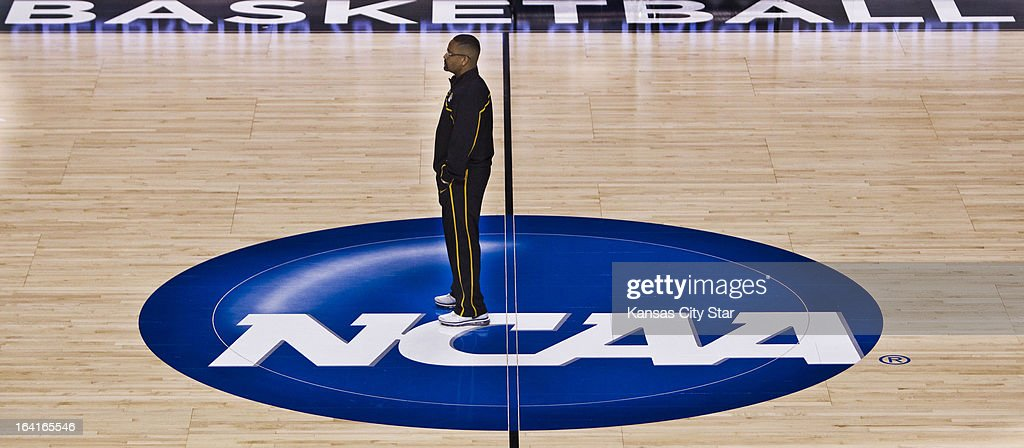 Missouri head coach Frank Haith watches his team from mid-court as they run drills during a shoot-around as the team prepares for the second round of the NCAA Tournament in Rupp Arena in Lexington, Kentucky, on Wednesday, March 20, 2013. Missouri meets Colorado State on Thursday.