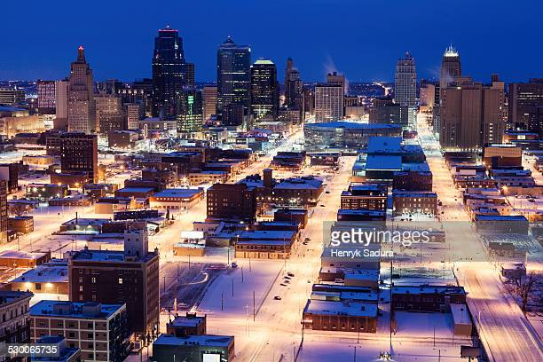USA, Missouri Kansas City, Elevated view of city in winter