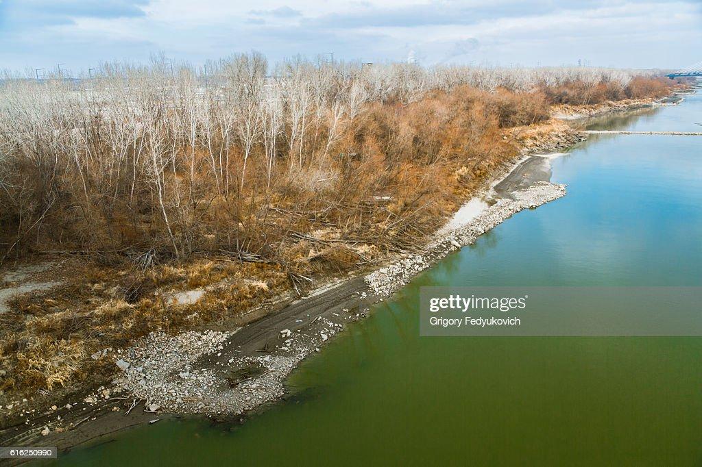 Missouri River close to Kansas City : Stock Photo