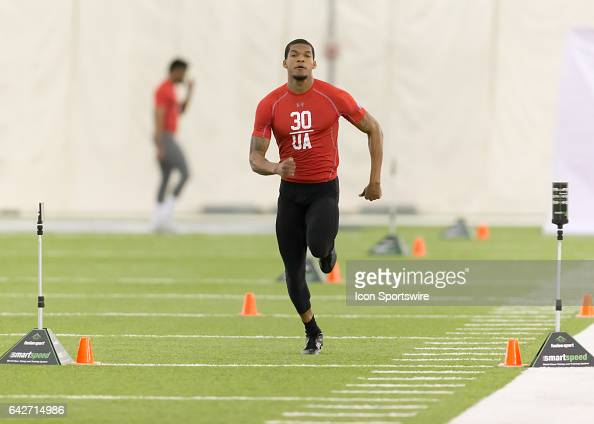 Missouri Southern safety Christopher Goss III runs the 40yard dash during the 2017 Houston NFL Regional Combine on February 18 2017 at the Texans...