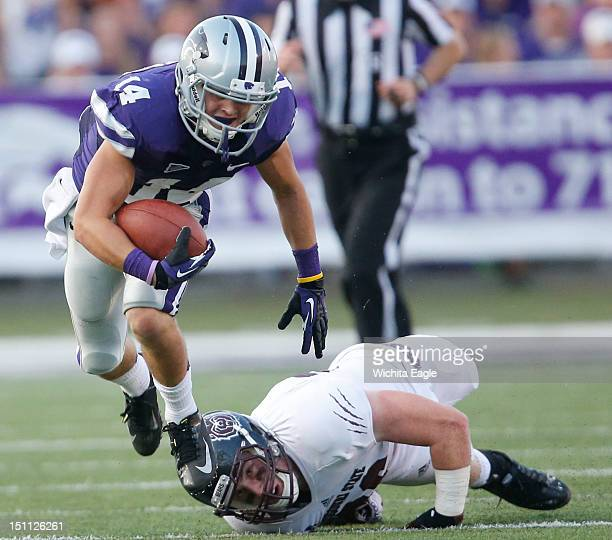Missouri State linebacker Tim Piccareto watches as Kansas State wide receiver Curry Sexton slips out of his hands after Sexton caught a Collin Klein...