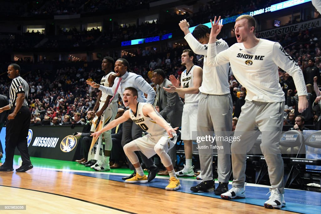 Missouri Tigers celebrating against the Florida State Seminoles in the first round of the 2018 NCAA Men's Basketball Tournament held at Bridgestone Arena on March 16, 2018 in Nashville, Tennessee.
