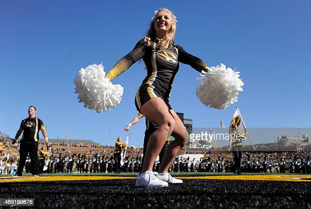 Missouri Tigers cheerleader performs prior to a game between the Connecticut Huskies and Missouri Tigers in the first quarter at Memorial Stadium on...