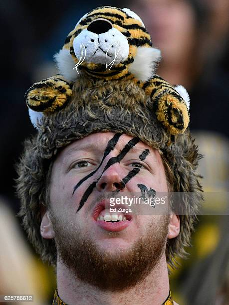 Missouri Tigers fan watches a game between the Arkansas Razorbacks and Missouri Tigers in the fourth quarter at Memorial Stadium on November 25 2016...
