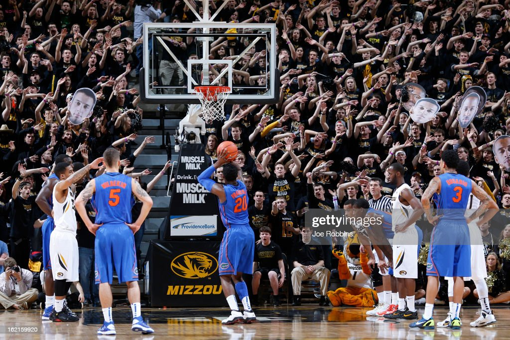 Missouri Tigers fans try to distract a free throw by the Florida Gators during the game at Mizzou Arena on February 19, 2013 in Columbia, Missouri. Missouri upset Florida 63-60.