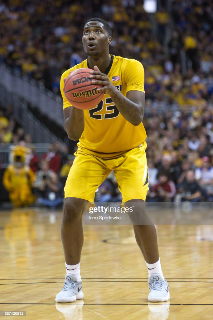 Missouri Tigers forward Jeremiah Tilmon (23) at the free throw line during the preseason Showdown for Relief college basketball game between the Missouri Tigers and the Kansas Jayhawks on October 22, 2017 at Sprint Center in Kansas City, Missouri.