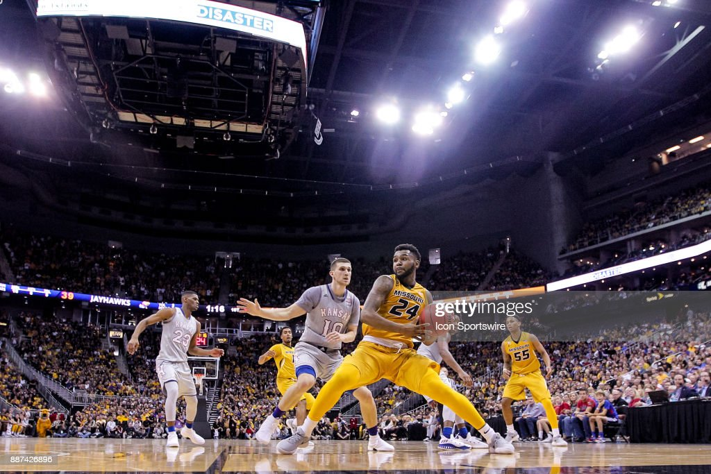 Missouri Tigers forward Kevin Puryear (24) along the baseline during the preseason Showdown for Relief college basketball game between the Missouri Tigers and the Kansas Jayhawks on October 22, 2017 at Sprint Center in Kansas City, Missouri.