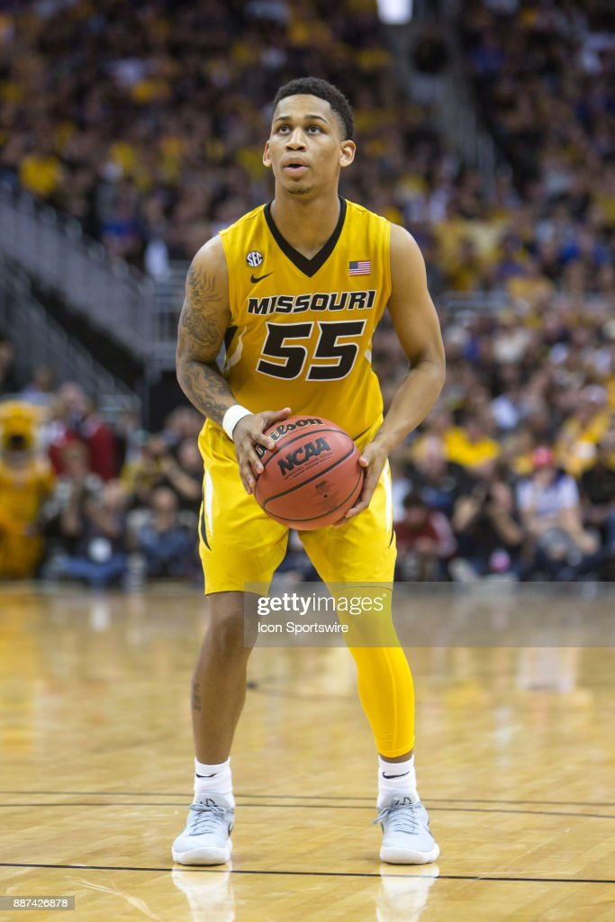 Missouri Tigers guard Blake Harris (55) at the free throw line during the preseason Showdown for Relief college basketball game between the Missouri Tigers and the Kansas Jayhawks on October 22, 2017 at Sprint Center in Kansas City, Missouri.