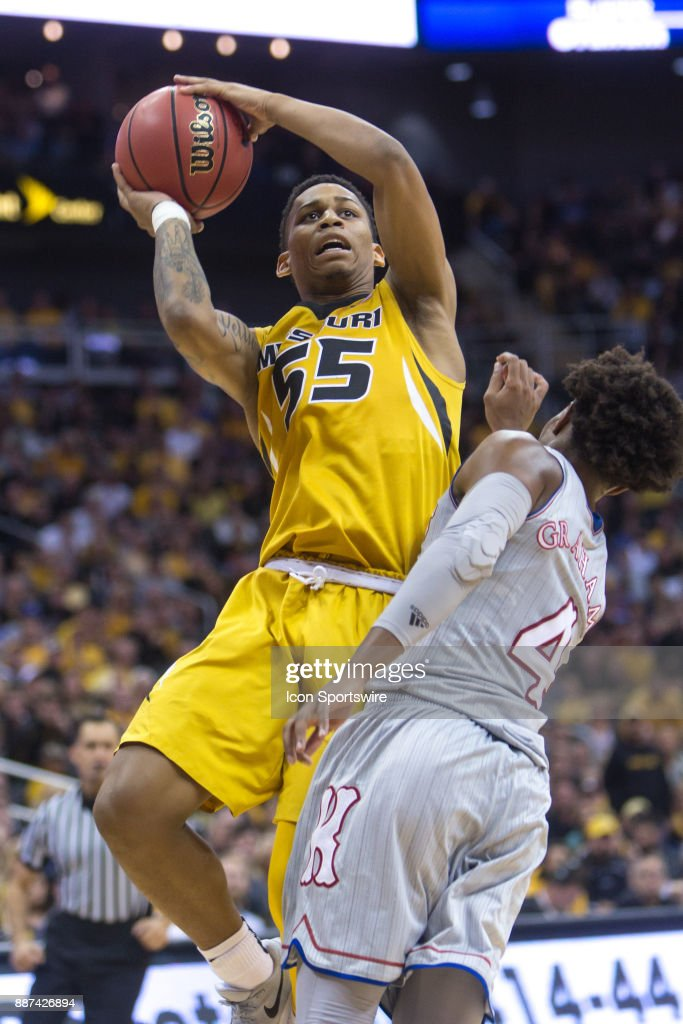 Missouri Tigers guard Blake Harris (55) during the preseason Showdown for Relief college basketball game between the Missouri Tigers and the Kansas Jayhawks on October 22, 2017 at Sprint Center in Kansas City, Missouri.