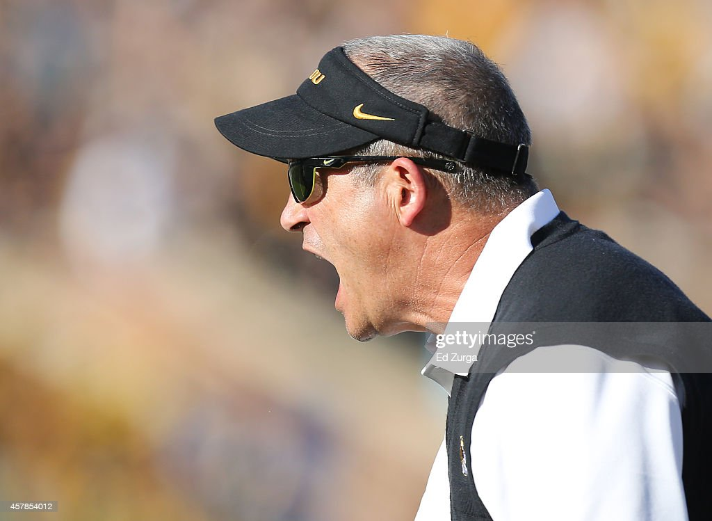 Missouri Tigers head coach <a gi-track='captionPersonalityLinkClicked' href=/galleries/search?phrase=Gary+Pinkel&family=editorial&specificpeople=2109950 ng-click='$event.stopPropagation()'>Gary Pinkel</a> yells at an official after a penalty was called on his team in the first quarter during a game against the Vanderbilt Commodores at Memorial Stadium on October 25, 2014 in Columbia, Missouri.