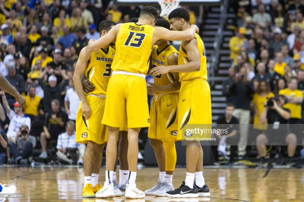 Missouri Tigers in a huddle during the preseason Showdown for Relief college basketball game between the Missouri Tigers and the Kansas Jayhawks on October 22, 2017 at Sprint Center in Kansas City, Missouri.
