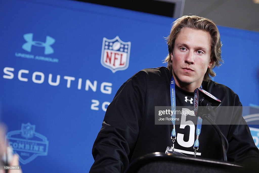 Missouri Tigers quarterback Blaine Gabbert answers questions during a media session at the 2011 NFL Scouting Combine at Lucas Oil Stadium on February 25, 2011 in Indianapolis, Indiana.