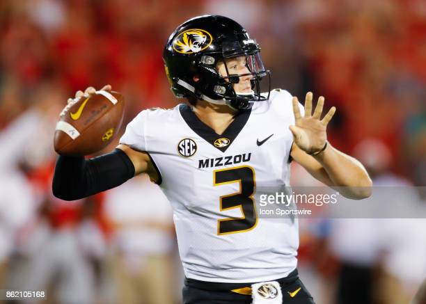 Missouri Tigers quarterback Drew Lock passes in the first half of the Missouri Tigers v Georgia Bulldogs game on October 14 2017 at Sanford Stadium...