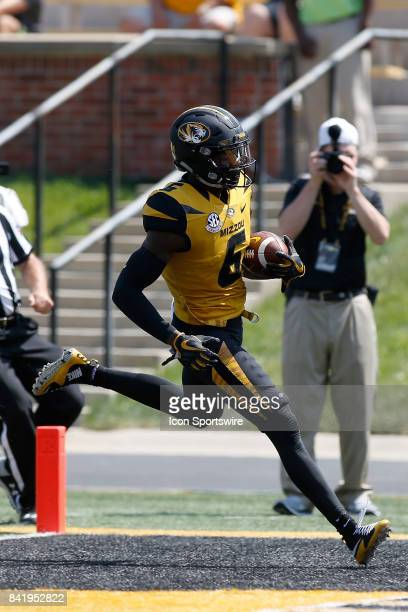 Missouri Tigers wide receiver J'Mon Moore scores a touchdown during the first half of a football game against the Missouri State Bears Saturday...