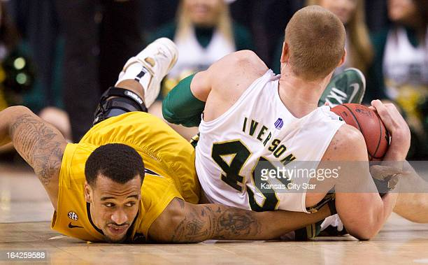 Missouri's Laurence Bowers comes up empty in a scramble for a loose ball with Colorado State's Colton Iverson in the second half in the NCAA...