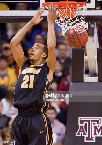 Missouri's Laurence Bowers did a reverse dunk against Texas AM during the quarterfinals of the Big 12 Tournament at the Sprint Center in Kansas City...