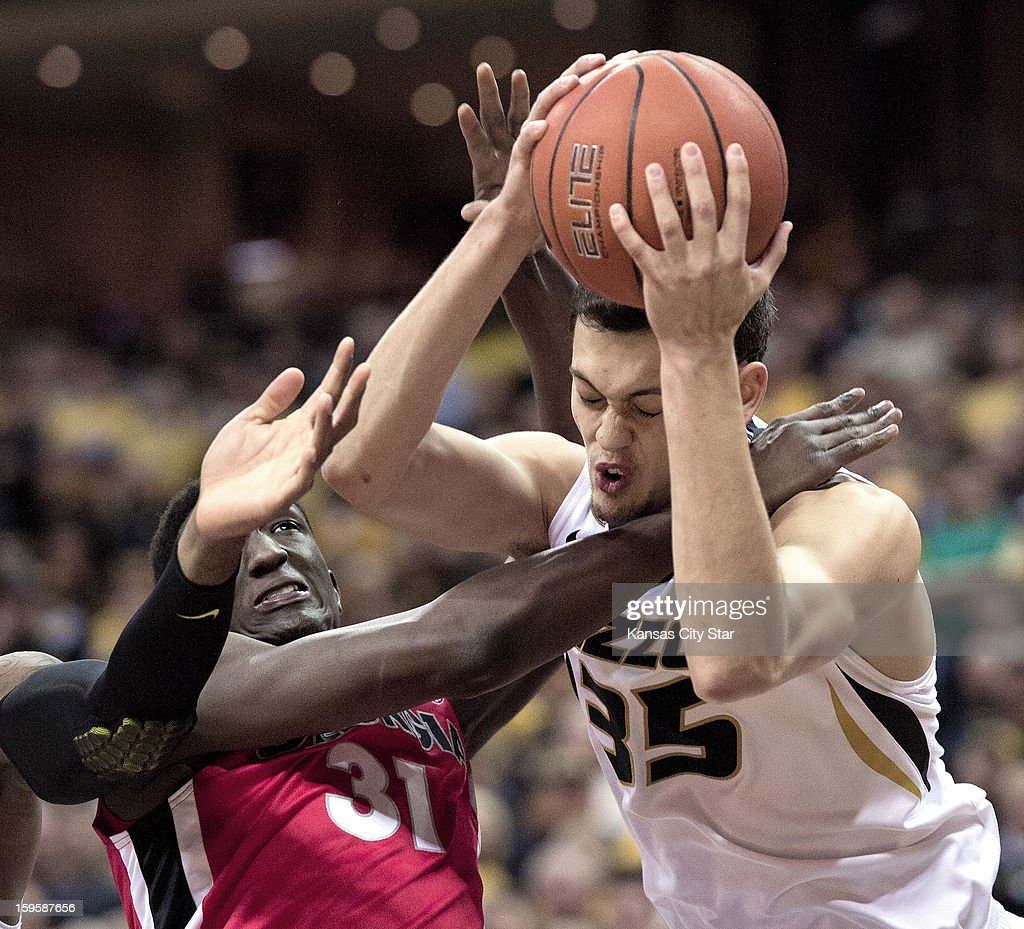 Missouri's Stefan Jankovic (35) and Georgia's Brandon Morris (31) battle for a rebound under the basket in the first half at Mizzou Arena on Wednesday, January 16, 2013, in Columbia, Missouri.