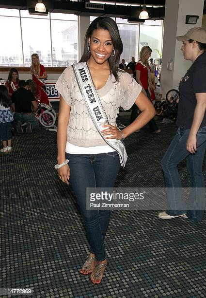 MissTeen Kamie Crawford attends a bike build in celebration of the 60th anniversary of the Miss USA Pageant and the 70th anniversary of the USO at...