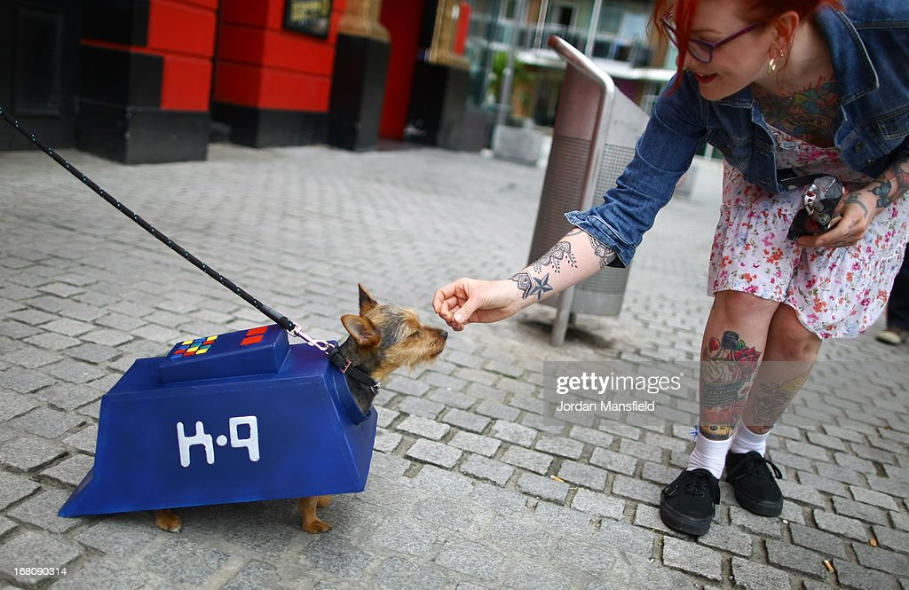 Missy, a Chorkie is dressed up as the character K-9 from the film and TV series Doctor Who is fed a treat on May 5, 2013 in London, England. Enthusiasts gathered at the Picture House in Stratford to parade their dogs dressed up as famous Sci-Fi characters as part a London-wide event called Sci-Fi London.