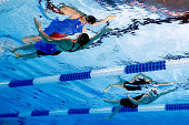 Missy Franklin and Lisa Bratton of the United States compete in a heat for the Women's 200 Meter Backstroke during Day Six of the 2016 US Olympic...