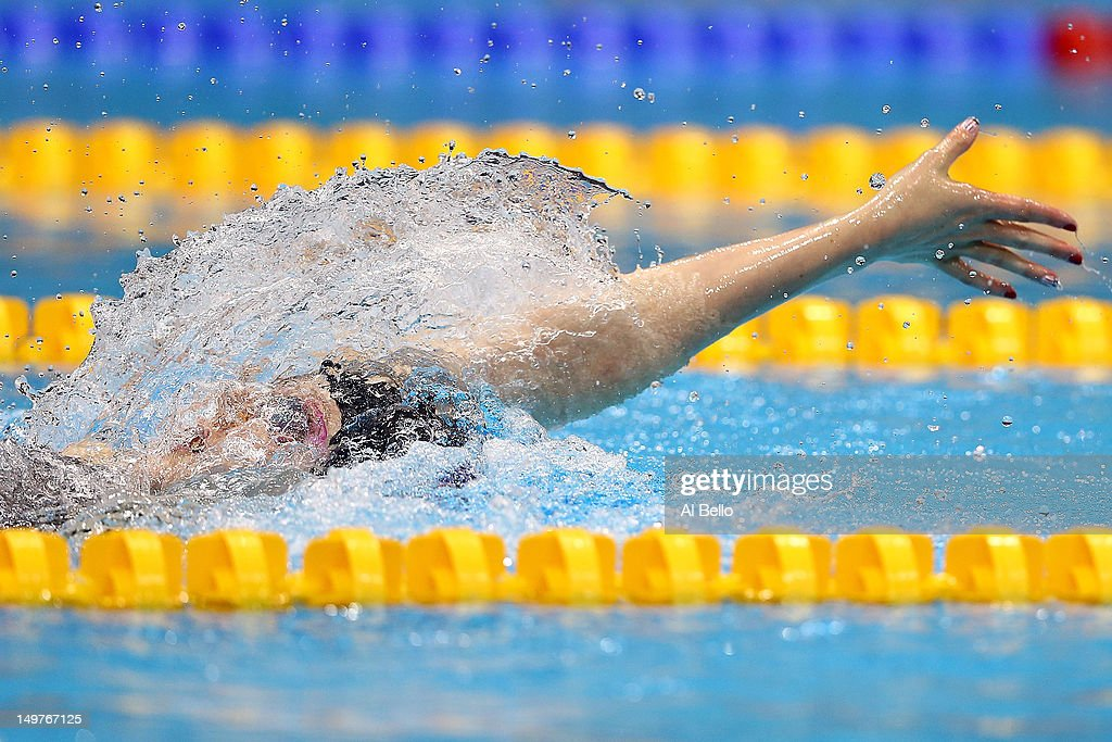 <a gi-track='captionPersonalityLinkClicked' href=/galleries/search?phrase=Missy+Franklin&family=editorial&specificpeople=6623958 ng-click='$event.stopPropagation()'>Missy Franklin</a> competes in the Women's 200m Backstroke Final on Day 7 of the London 2012 Olympic Games at the Aquatics Centre on August 3, 2012 in London, England.