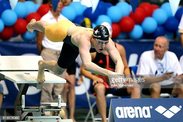 Missy Franklin dives into the water during day one of the Arena Pro Swim Series at the YMCA of Central Florida Aquatic Center on March 3 2016 in...